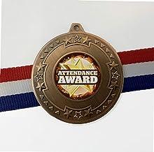 Trophy Shack Pack van 50 x brons 50mm Attendance Award medailles met rode, witte en blauwe linten met GRATIS gravure M69BZATT