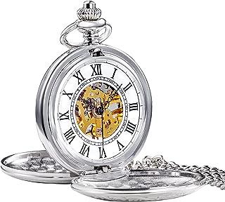TREEWETO Mens Skeleton Mechanical Pocket Watch, Retro Roman Numerals, Half Hunter, Bronze