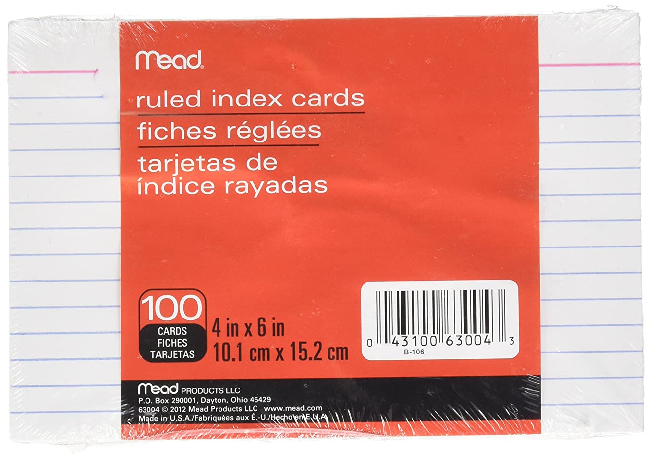Mead Products - Index Cards, Ruled, 4