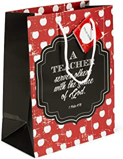 A Teacher Serves Red Apple Stripe Medium Tissue Paper and Gift Bags with Handles 3 Pack
