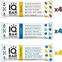 IQ BAR Brain + Body Bars, Fruit Lovers Variety   Keto, Paleo-Friendly, Vegan   11g Protein, 1g Sugar, 4g Net Carbs   Non-GMO, Gluten-Free, No Sugar Alcohols   12-Count (3 Flavors)