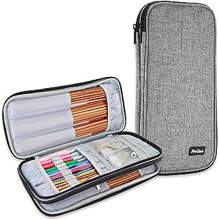 ProCase Trousse Double (Pas d'Accessoires Inclus) pour Accessoires et Outils de Crochet, Petit Sac pour Crochet Aiguille T...