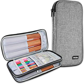 ProCase Knitting Needles Case (up to 11 Inches), Travel Organizer Storage Zipper Bag for Circular and Straight Knitting Needles, Crochet Hooks and Other Accessories, Grey (NO Accessories Included)