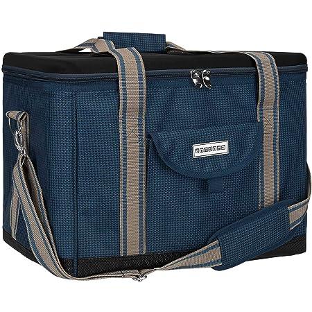 anndora Kühltasche XL Blau Hahnentritt 40 Liter Isoliertasche Picknicktasche
