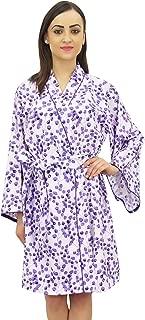 Bimba Women's Leaf Printed Kimono Robe Full Sleeve Cotton Poplin Cover up