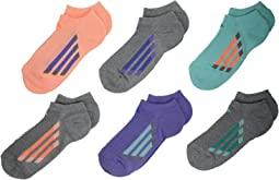adidas Kids - Vertical Stripe No Show Socks 6-Pack (Toddler/Little Kid/Big Kid/Adult)