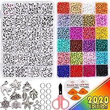 llaveros FANDE 700Pcs Kit Hacer Pulseras Pulseras Acrylic Alphabet Letter Beads Collares DIY Letter Beads Bracelet para Hacer Joyas Kits de Perlas de Joyer/ía para Ni/ños