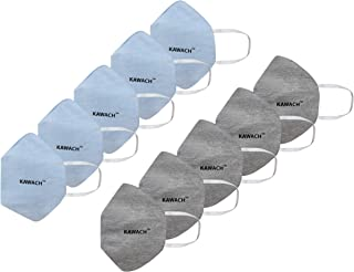Kawach Mask by IIT DELHI Start-up, Reusable and Washable protective face masks with 99% Filtration Efficiency (Blue & Grey...