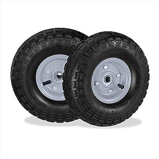 Relaxdays 2X steekwagenwiel 4.1/3.5-4, luchtbanden reservewielen, 16 mm as, 136 kg, stalen velg, 260 x 85 mm, zwart-grijs
