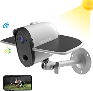 Outdoor Solar Battery Powered Security Camera, SOLIOM S60 1080P Home Wireless IP Cam with Accurate Motion Detection; Wide Angle Range, Quick Alert and Night Vision