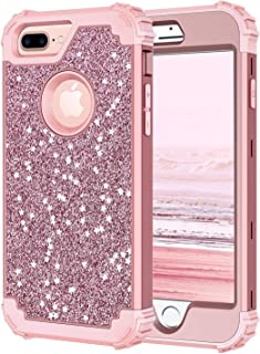 Hekodonk Compatible iPhone 8 Plus/7 Plus Case, Luxury Stars Sparkle Shiny Heavy Duty Shockproof Fullbody Protective Impact Hybrid Cover for Apple iPhone 8 Plus/7 Plus (Glitter Rose Gold)