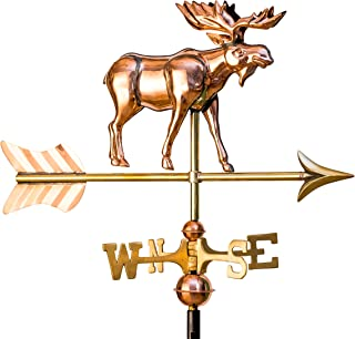 East Coast Weathervanes and Cupolas Garden 3D Moose Weathervane Polished Copper (Copper, W/Roof Mount)