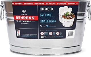Behrens TV205351 Steel 0GS Galvanized Round Tub, 5 Gallon, 5-Gallon