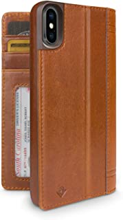 Twelve South 12-1516 Journal for iPhone XS/iPhone X, Leather Wallet Shell and Display Stand, Cognac, iPhone X