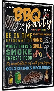Putuo Decor BBQ Party Metal Wall Decor, Funny Art Decoration for Home, Bars, Kitchen, Restaurants, Cafes Pubs, 12x8 Inches Aluminum Sign