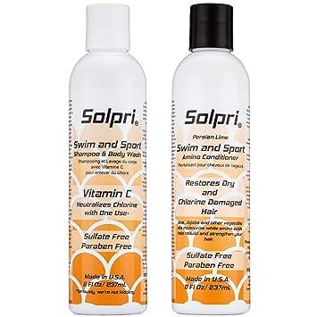 Solpri Swimmers Chlorine Swim Shampoo Body Wash and Conditioner with Vitamin C (16 Fl Oz Total)