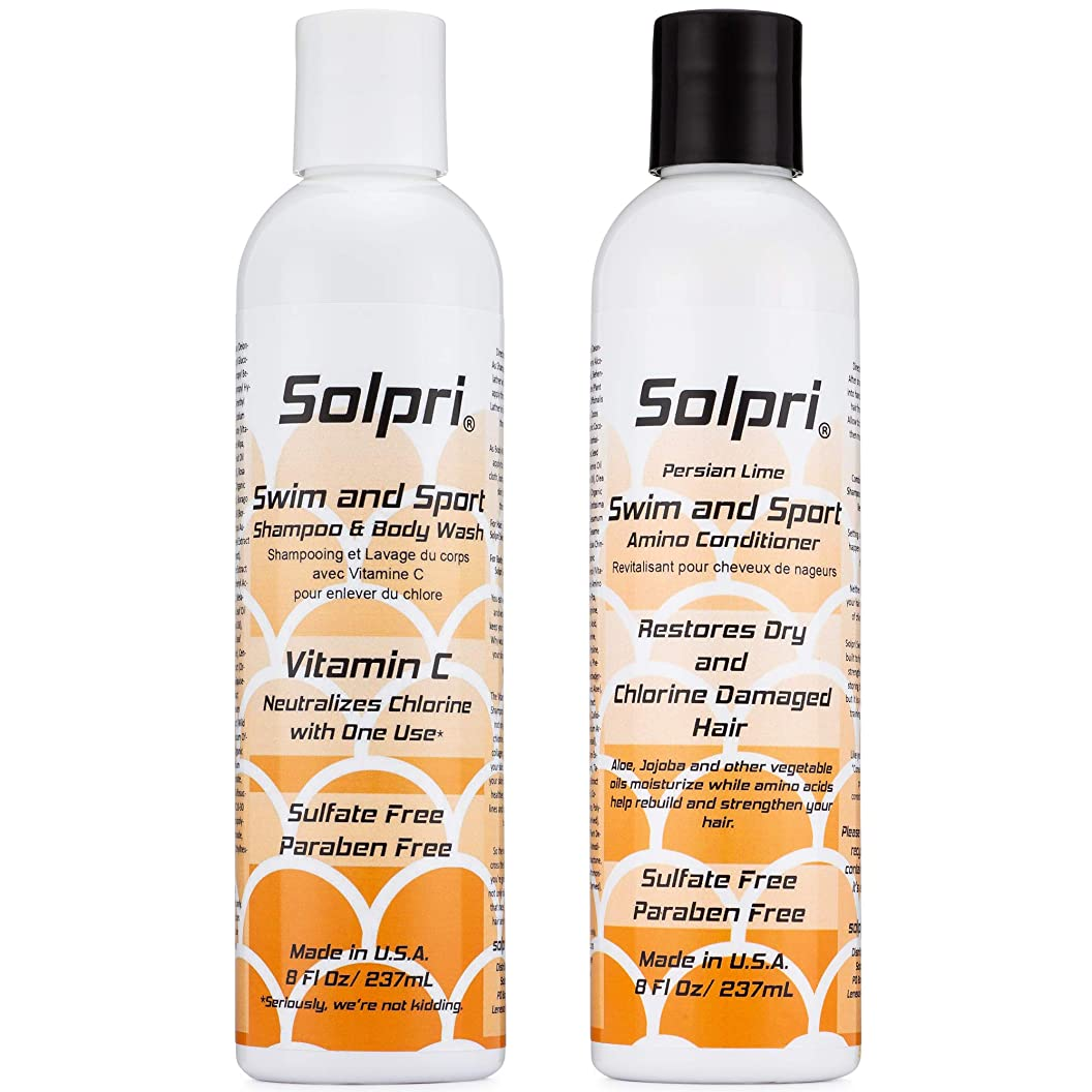 Solpri Swimmers Chlorine Swim Shampoo Body Wash and Conditioner with Vitamin C (16 Fl Oz Total) aabmxaioadj53