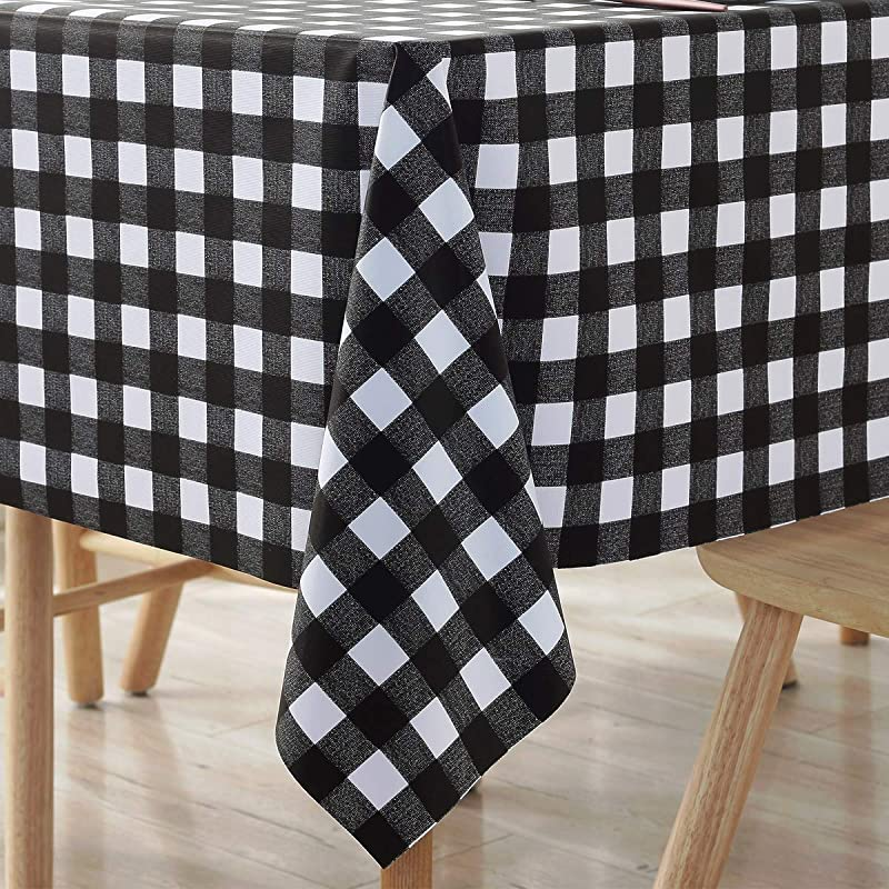 Square Tablecloth Small Vinyl Oilcloth Picnic PVC Wipeable Plastic Spillproof Peva Oil Proof Party Waterproof Heavy Duty Tablecloths Black And White Checkered 4ft 54x54 Inch