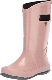 BOGS Kids Rainboots Waterproof Rubber Rain Boots for Boys and Girls, Glitter - Rose Gold, 13 M