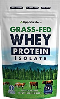 Grass Fed Whey Protein Powder Isolate - Unflavored & Low Carb - Cold Processed & Undenatured - Pure, Clean Grass-Fed Prote...