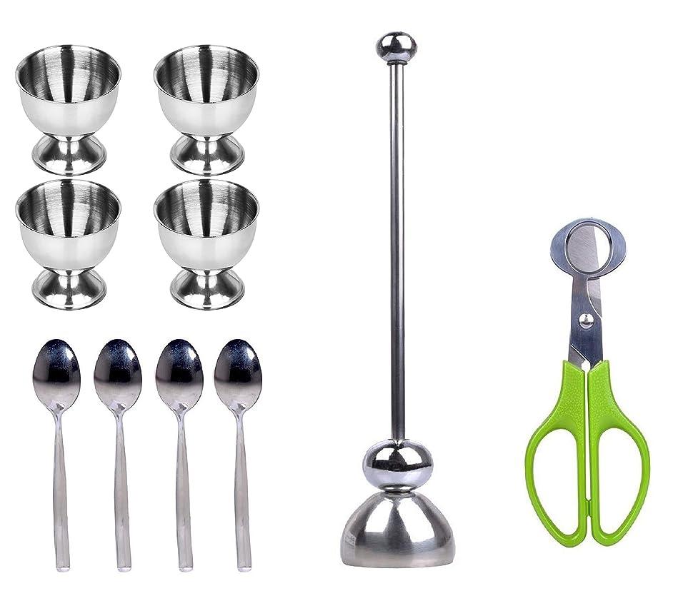 Egg Cups, Boiled Raw Egg Topper, Egg Spoons, Egg Shells Scissors, 10 Pack - Stainless Steel