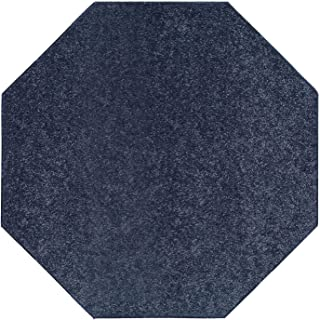 Ambiant Pet Friendly Solid Color Area Rug Petrol Blue -2' Octagon