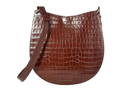 Loeffler Randall Caroline Twisted Ring Leather Hobo (Chocolate) Handbags