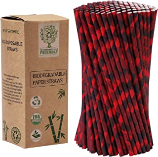 Cooraby 200 Pieces Red and Black Plaid Paper Straws Biodegradable Paper Drinking Straws for Christmas Party Supplies and Party Favors
