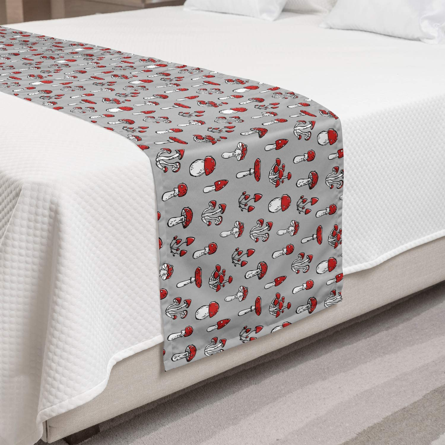 Decorative Accent Bedding Scarf for Hotels Homes and Guestrooms Ambesonne Mushroom Bed Runner Pattern with Amanita Fungus on Neutral Background Print Pale Taupe Vermilion