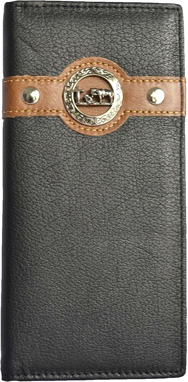 Men's western wallet Cowboy Praying cross wallet leather long bi-fold wallet casual rodeo wallet (black)