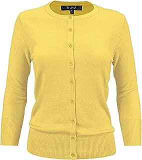 YEMAK Women's 3/4 Sleeve Crewneck Button-Down Knit Cardigan Sweater (S-3X)