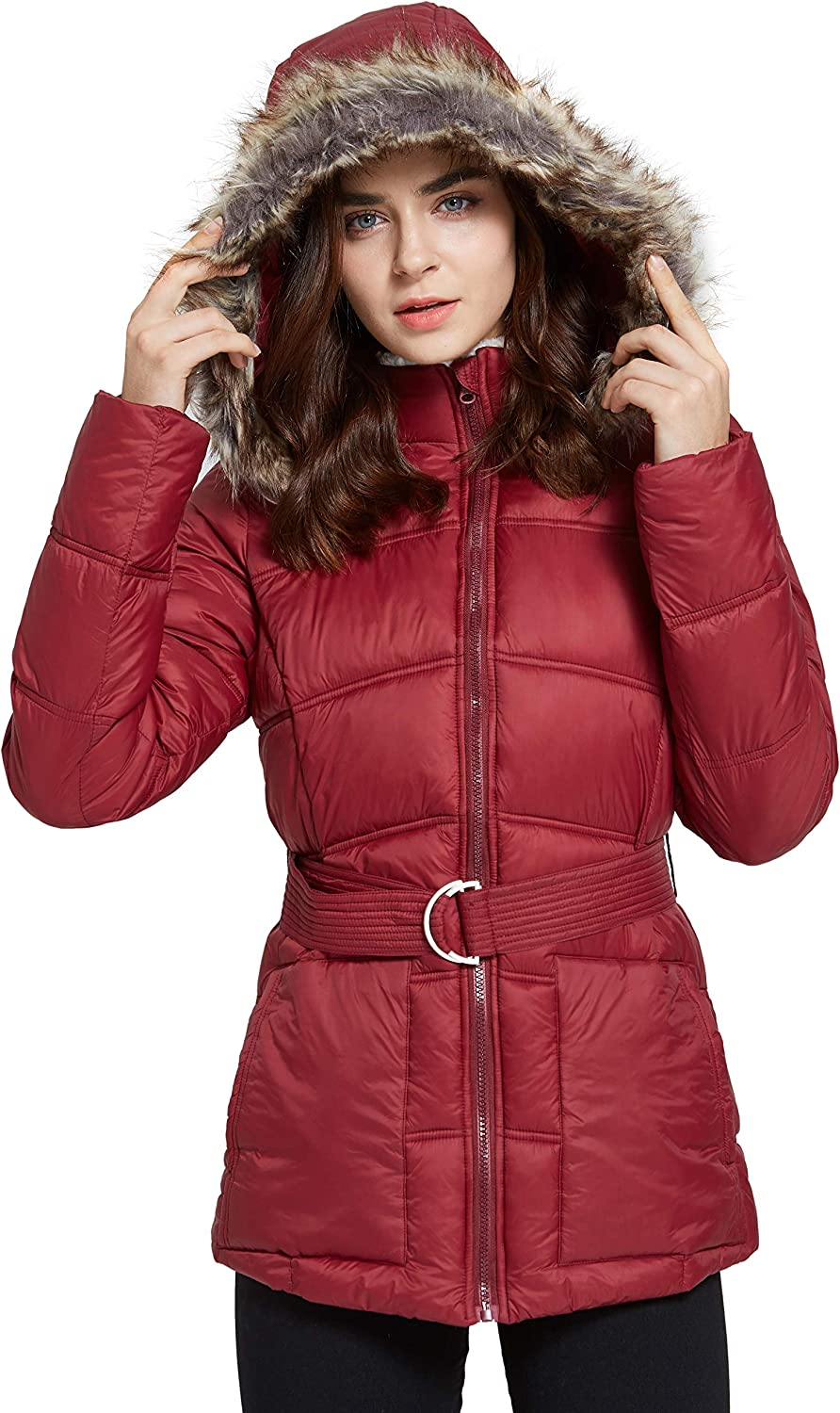 SVACUAM Women's Quilted Puffer Jacket with Removable Faux Fur Trim and Belted(Wine Red,XXL)