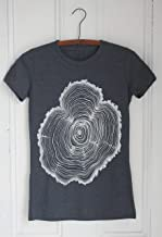 Women's Organic Tree Ring T-shirt, Hand Screen Printed with Eco Friendly Ink, Crew Neck, Super Soft Tri-blend