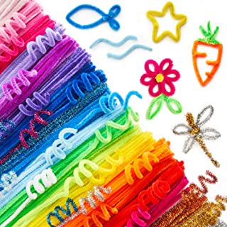 ARTEZA Chenille Stems, Set of 650 Colored Sparkle Pipe Cleaners, 10 Glitter Colors (100 psc), 25 Vibrant Colors (550 psc) ...