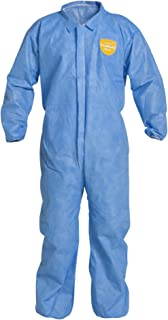 DuPont ProShield 10 Disposable Protective Coverall with Serged Seams, Elastic Cuff and Ankles, Blue, X-Large, 25-Pack