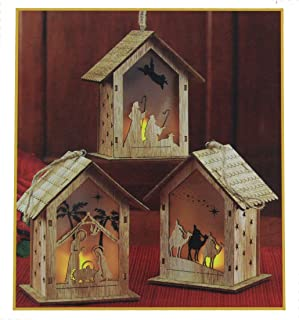 Set of 3 Nativity Scene Cut-Out LED Light-up 5 inch Wood Carved Christmas Ornament