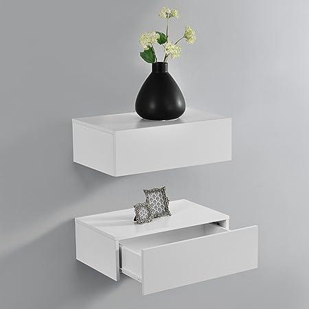[en.casa] 2 Étagères Murales pour Chambre à Coucher avec 2 Tiroirs Blanc Mat 46x30x15cm