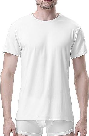 Genuwin Camisetas Interiores para Hombre, Pack de 3   Negro, Blanco   Talla S, M, L, XL