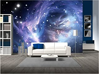 wall26 - Blue Space Nebula - Removable Wall Mural | Self-Adhesive Large Wallpaper - 100x144 inches