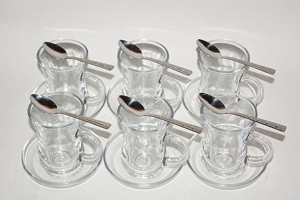 Preisvergleich für Orginal türkisches Tee Set Teeset 'KULP'/ 6 klassische Gläser mit Henkel von Ikram/ 6 Rührlöffel (Marke PROUD)/ 6 Untersetzer von Pasabahce