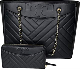 Tory Burch Alexa Flat Quilted Tote bundled with Tory Burch Alexa Zip Continental Wallet (Black)