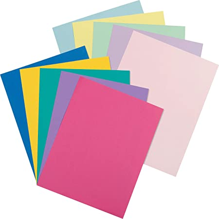 """Pacon Card Stock, Pastel and Bright Jumbo Assortment, 10 Colors, 8-1/2"""" x 11"""", 250 Sheets"""