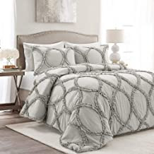 Lush Decor Riviera 3 Piece Comforter Set, King, Light Gray