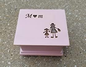music box with Mom and mother and daughter image engraved on top, with your choice of color and song, great gift for Mother's day or Christmas gift for mom