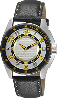 Fastrack Men's Silver Dial Leather Band Watch - 3089SL11