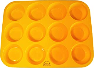 Yellow 12 Cup Silicone Muffin/Cupcake Pan with Recipe eBook (14) by Bear Bakeware, Non-stick, BPA-free, Dishwasher Friendly, FDA Approved 100% Food Grade Silicone