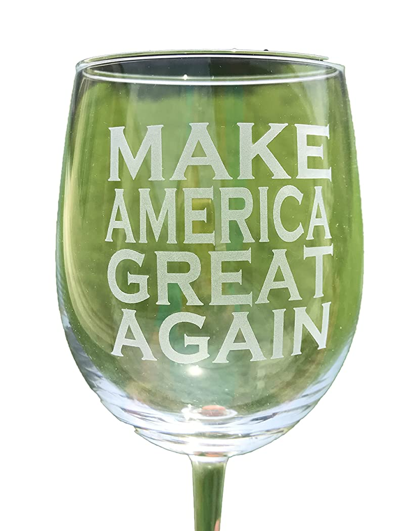 害ネックレット雇用G136 Make America Great Again Wine Glass Etched Donald Trump President