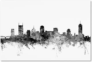 Nashville TN Skyline B&W by Michael Tompsett, 16x24-Inch Canvas Wall Art