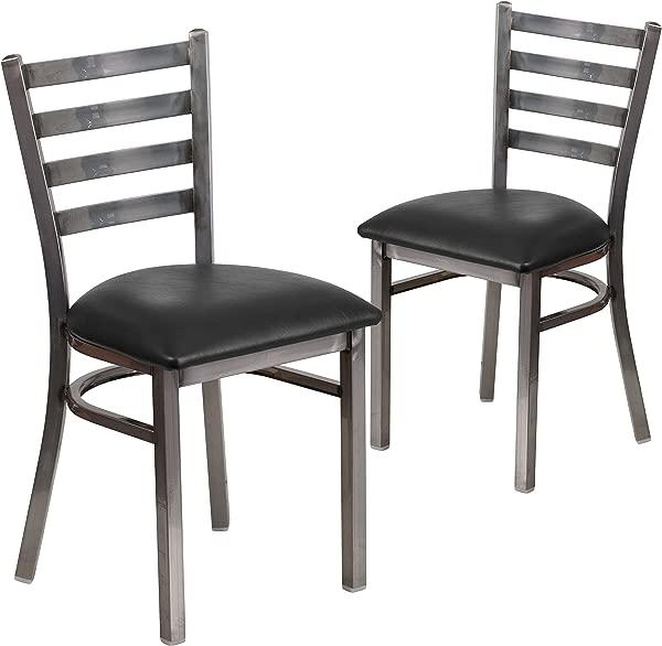 Flash Furniture 2 Pk HERCULES Series Clear Coated Ladder Back Metal Restaurant Chair Black Vinyl Seat