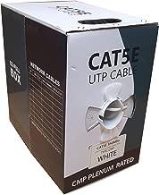 CAT5E Plenum 1000FT Solid 24AWG 350MHZ UTP Bulk White CMP Network LAN Cable